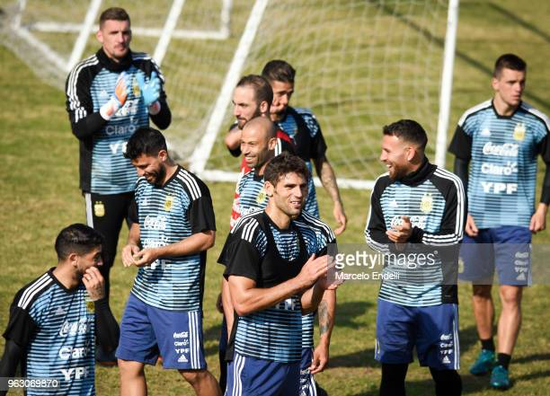 Players of Argentina smile during a training session open to the public as part of the team preparation for FIFA World Cup Russia 2018 at Tomas...