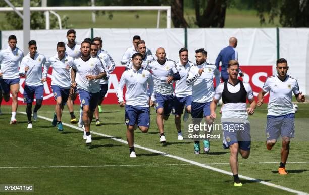 Players of Argentina warm up during the last training session before their first game of the FIFA World Cup 2018 at Bronnitsy Training Camp on June...