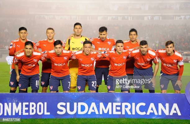 Players of Argentina's football team Independiente pose for pictures before the start of their Copa Sudamericana football tournament match against...