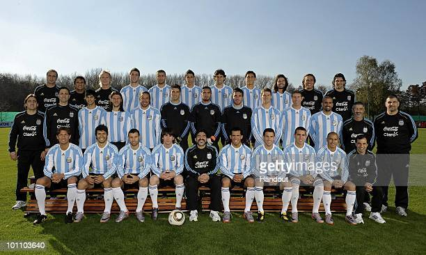 Players of Argentina's National team for the 2010 FIFA World Cup South Africa pose during a photo session on May 26 2010 in Buenos Aires Argentina