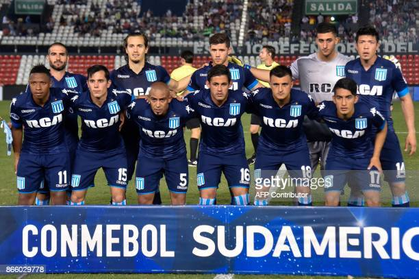 Players of Argentina's Racing pose for pictures before the start of their Sudamericana Cup quarterfinal football match against Paraguay's Libertad at...
