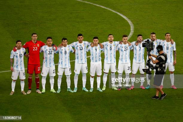 Players of Argentine line up for the national anthem prior to the final of Copa America Brazil 2021 between Brazil and Argentina at Maracana Stadium...
