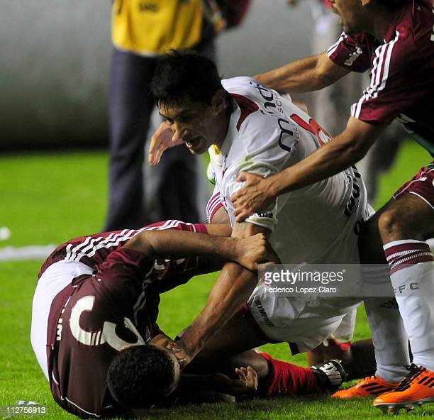 Players of Argentinos Jr and Fluminense got involve in a fight at the end of the match for the Santander Libertadores Cup 2011 in Diego Armando...