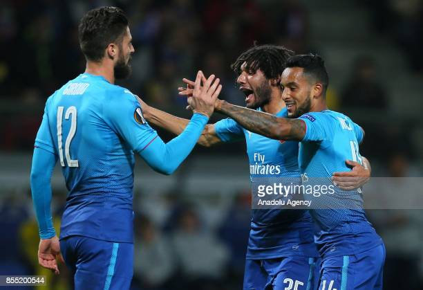 Players of Arsenal FC celebrate a goal during the UEFA Europa League group H match between BATE Borisov and Arsenal FC at the BorisovArena stadium in...