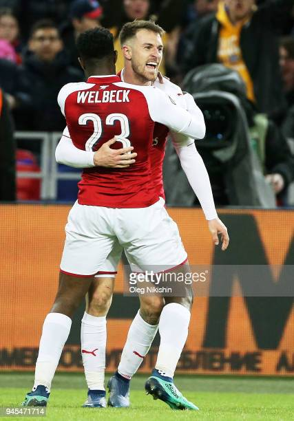 Players of Arsenal FC celebrate a goal during the UEFA Europa League quarter final leg two match between PFC CSKA Moskva and Arsenal FC at CSKA Arena...