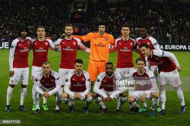 Players of Arsenal FC pose for photographers before the UEFA Europa League quarter final leg two match between PFC CSKA Moskva and Arsenal FC at CSKA...