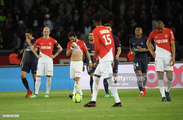 Players of AS Monaco are disapointed after the Ligue 1 match between Paris Saint Germain and AS Monaco at Parc des Princes on April 15 2018 in Paris