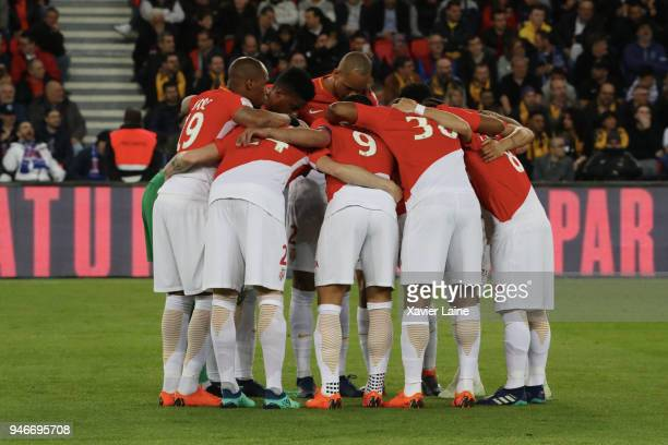 Players of AS Monaco before the Ligue 1 match between Paris Saint Germain and AS Monaco at Parc des Princes on April 15 2018 in Paris