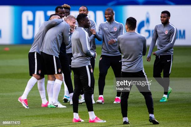 Players of AS Monaco joke during a training session prior the UEFA Champions League Quarter Final First Leg match between Borussia Dortmund and AS...