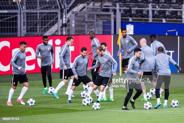 Players of AS Monaco warm up during a training session prior the UEFA Champions League Quarter Final First Leg match between Borussia Dortmund and AS...