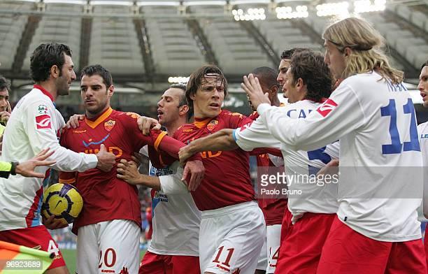 Players of AS Roma and Catania Calcio, Gennaro Del Vecchio, Simone Perrotta , Giuseppe Mascara, Rodrigo Taddei, and Maxi Lopez argue during the Serie...