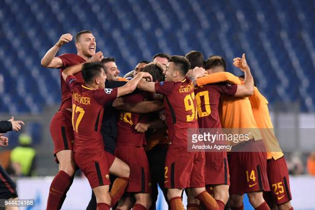 Players of AS Roma celebrate after the UEFA Champions League quarters soccer match between AS Roma and FC Barcelona at the Stadio Olimpico in Rome...