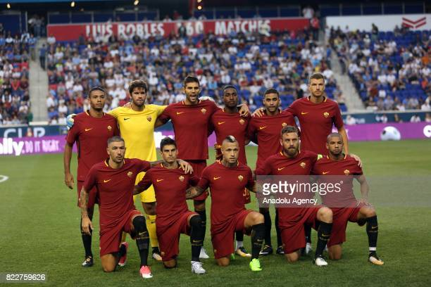 Players of AS Roma pose for a photo ahead of International Champions Cup 2017 friendly match between Roma and Tottenham at Redbull Arena Stadium in...