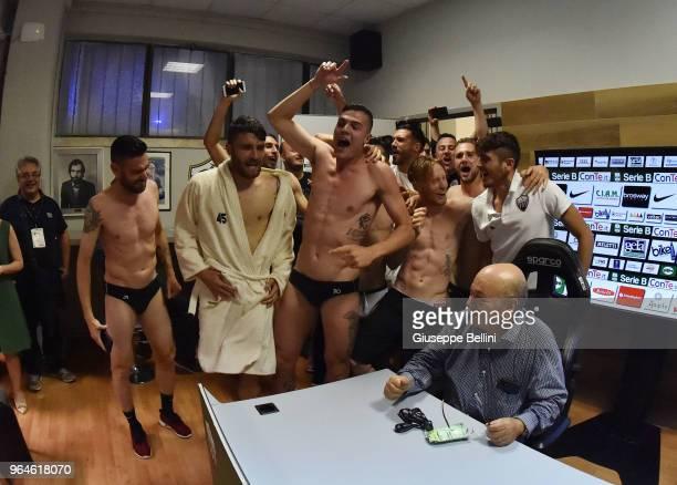 Players of Ascoli Picchio FC 1898 and Francesco Bellini President of Ascoli Picchio FC 1898 celebrate in the press room in Serie B after the Serie B...
