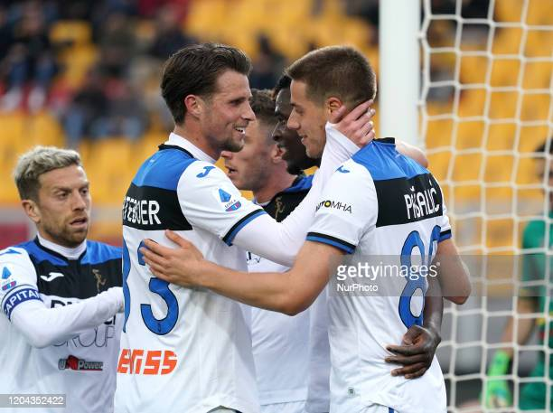 Players of Atalanta BC celebrate the goal during the Serie A match between US Lecce and Atalanta Bergamasca Calcio on march 1 2020 stadium quotvia...