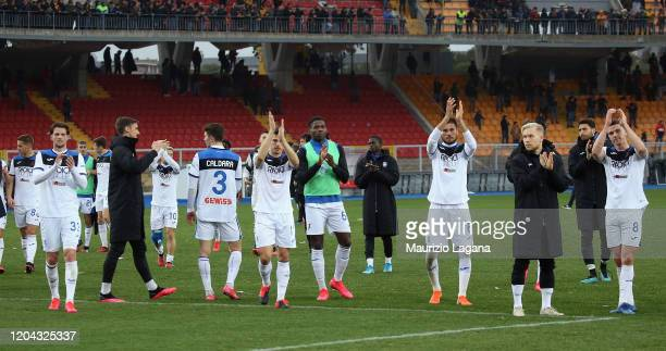 Players of Atalanta celebrate after the Serie A match between US Lecce and Atalanta BC at Stadio Via del Mare on March 1 2020 in Lecce Italy