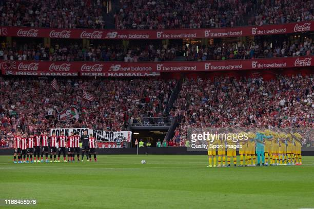 Players of Athletic Club and FC Barcelona prior to the Liga match between Athletic Club and FC Barcelona at San Mames Stadium on August 16 2019 in...