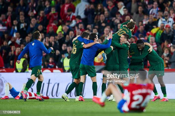 Players of Athletic Club celebrate after winning the Copa del Rey semifinal 2nd leg match between Granada CF and Athletic Club at Estadio Nuevo Los...