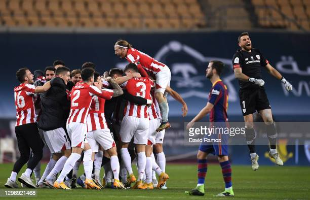 Players of Athletic Club celebrate victory in the Supercopa de Espana Final match between FC Barcelona and Athletic Club at Estadio de La Cartuja on...