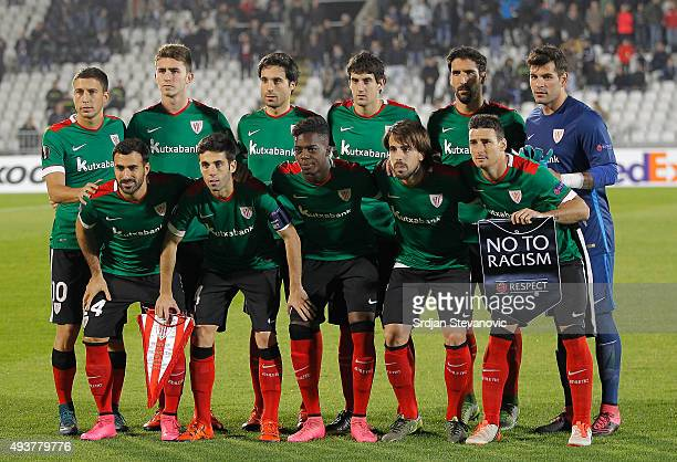 Players of Athletic Club lin up prior the UEFA Europa League match between FK Partizan v Athletic Club at Stadium FK Partizan on October 22 2015 in...