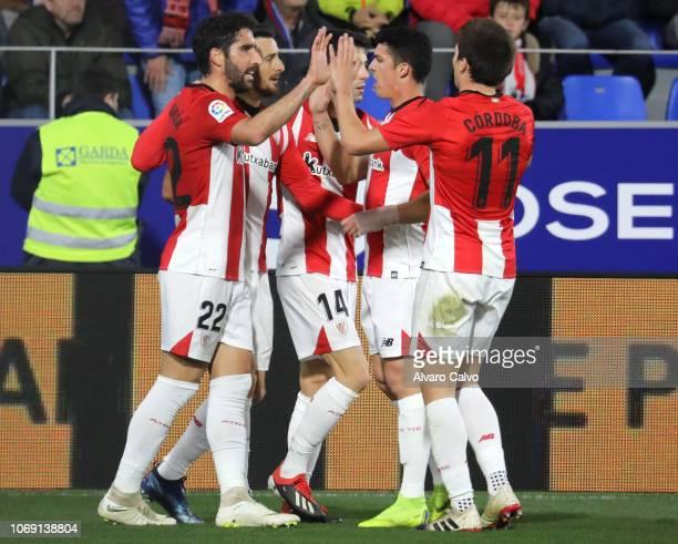 Players of Athletic de Bilbao celebrate goal during the La Copa del Rey match between SD Huesca and Athletic de Bilbao at El Alcoraz on December 6...