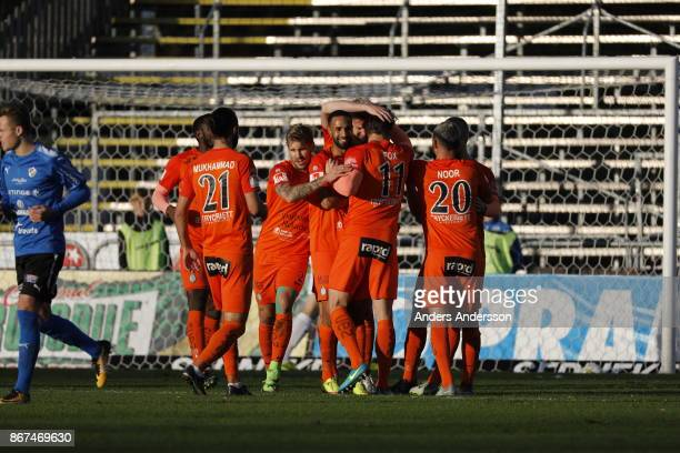 Players of Athletic FC Eskilstuna celebrates after scoring 10 during the Allsvenskan match between Halmstad BK and Athletic FC Eskilstuna at Orjans...