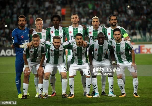 Players of Atiker Konyaspor pose for a team photo ahead of the UEFA Europa League Group I soccer match between Atiker Konyaspor and Vitoria Guimaraes...