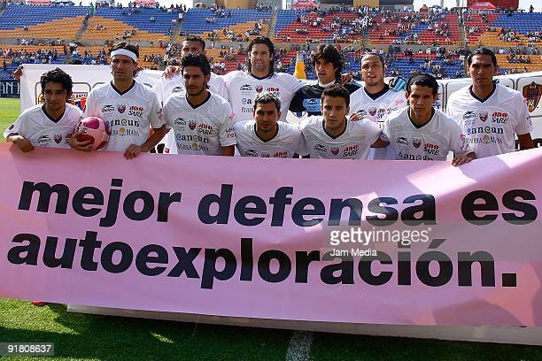 Players of Atlante line up for a photograph during their match as part of the 2009 Opening Tournament the closing stage of the Mexican Football...