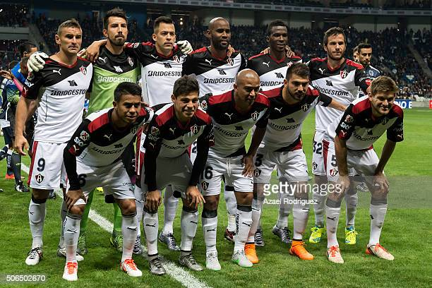 Players of Atlas pose prior the 3rd round match between Monterrey and Atlas as part of the Clausura 2016 Liga MX at BBVA Bancomer Stadium on January...