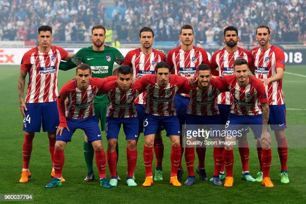 Players of Atletico de Madrid line up for a team photo prior to the UEFA Europa League Final between Olympique de Marseille and Club Atletico de...