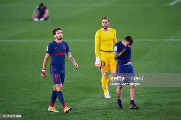 Players of Atletico de Madrid react at the end of the La Liga Santander match between Real Betis and Atletico de Madrid at Estadio Benito Villamarin...