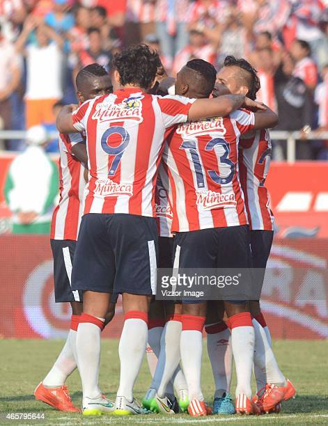 Players of Atletico Junior celebrate a goal scored to Uniautonoma during match for the 8th date of the Aguila League I 2015 played at Metropolitano...