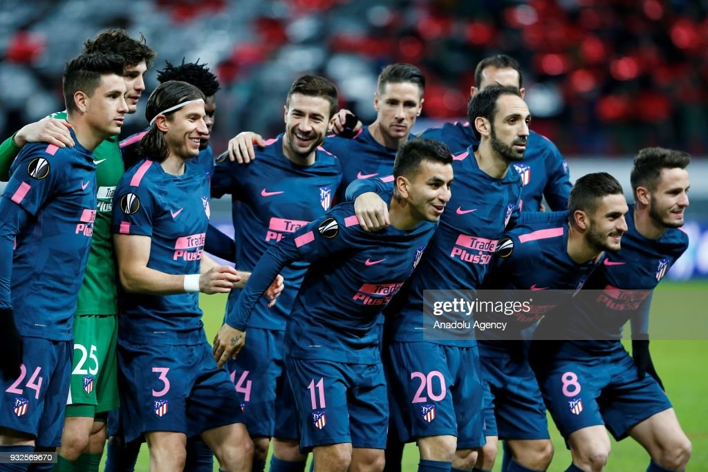Players of Atletico Madrid are seen during the UEFA Europa League Round of 16 , 2nd leg soccer match between Lokomotiv Moscow and Atletico Madrid at Stadion Lokomotiv in Moscow, Russia on March 15, 2018.
