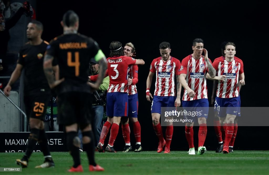 Players of Atletico Madrid celebrate after scoring a goal during UEFA Champions League Group C soccer match between Atletico Madrid and AS Roma at Wanda Metropolitano Stadium in Madrid, Spain on November 22, 2017.