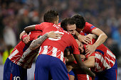 lyon france players atletico madrid celebrates