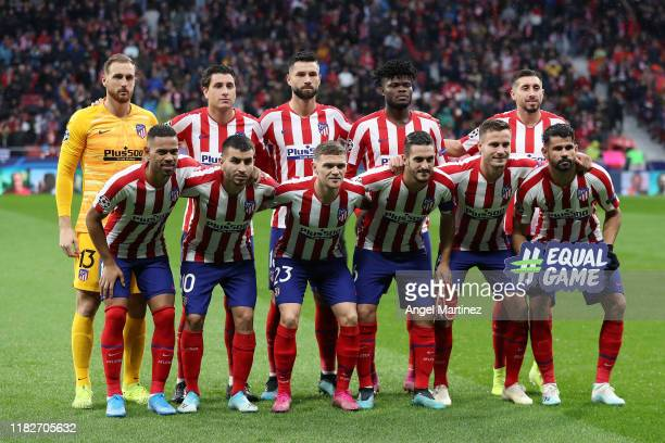Players of Atletico Madrid pose for a team photograph prior to the UEFA Champions League group D match between Atletico Madrid and Bayer Leverkusen...