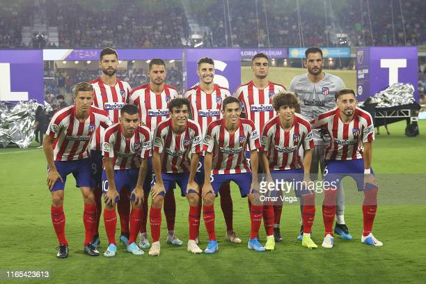 Players of Atletico Madrid pose for the team photo prior to the 2019 MLS AllStar Game between MLS All Stars and Atletico de Madrid at Exploria...