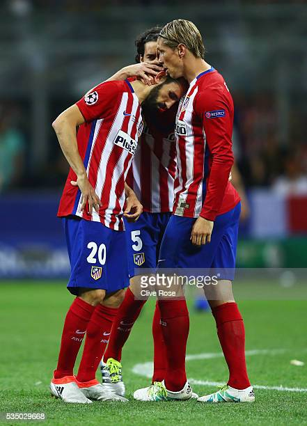 Players of Atletico Madrid show their dejection during the UEFA Champions League Final match between Real Madrid and Club Atletico de Madrid at...