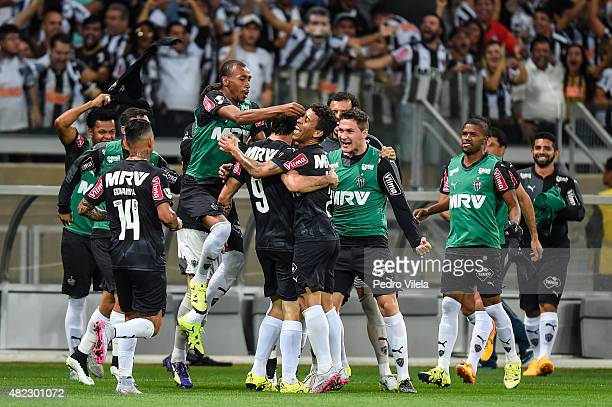 Players of Atletico MG celebrates a scored goal against Sao Paulo during a match between Atletico MG and Sao Paulo as part of Brasileirao Series A...