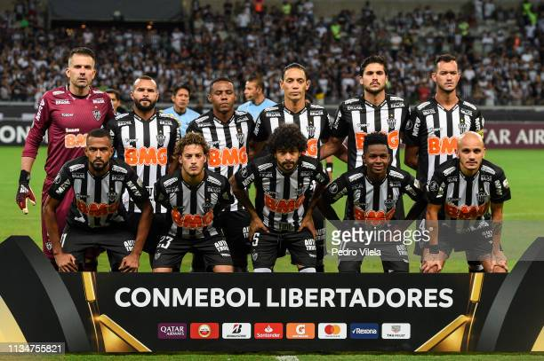 Players of Atletico MG pose for a photo before the match between Atletico MG and Zamora as part of Copa CONMEBOL Libertadores 2019 at Mineirao...