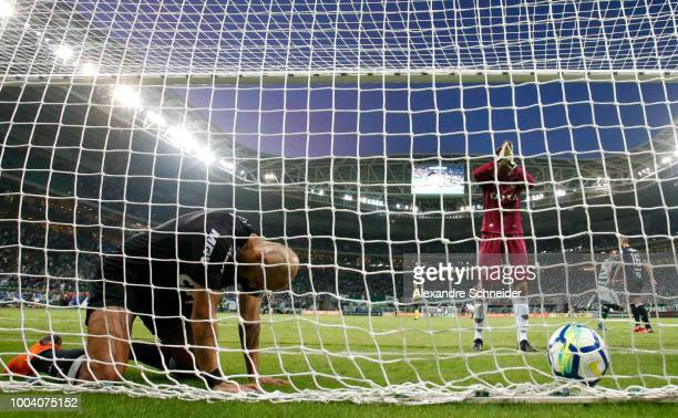 Players of Atletico MG react after Palmeiras thirth goal during the match between Palmeiras and Atletico MG for the Brasileirao Series A 2018 at...
