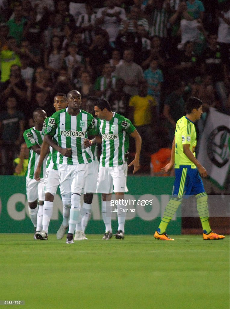 Players of Atletico Nacional celebrate a goal of their team during a group stage match between Atletico Nacional and Sporting Cristal as part of Copa Libertadores 2016 at Atanasio Girardot Stadium on March 01, 2016 in Medellin, Colombia.