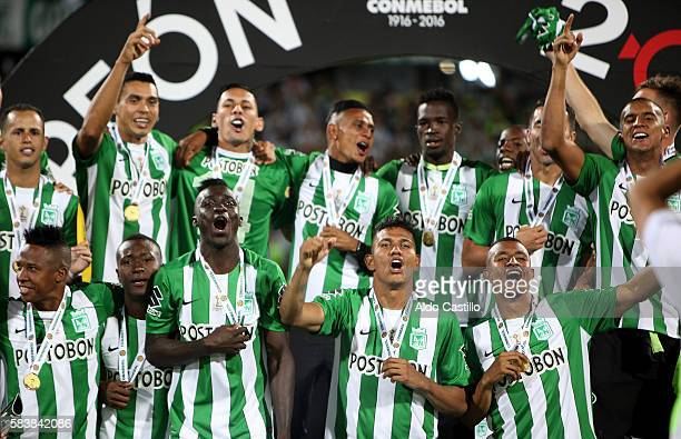 Players of Atletico Nacional celebrates the championship after a second leg final match between Atletico Nacional and Independiente del Valle as part...