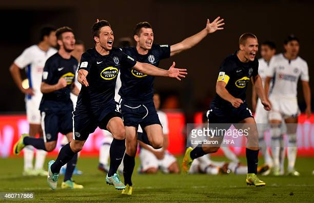 Players of Auckland celebrate after winning the FIFA Club World Cup 3rd Place match between Cruz Azul and Auckland City FC at Marrakech Stadium on...