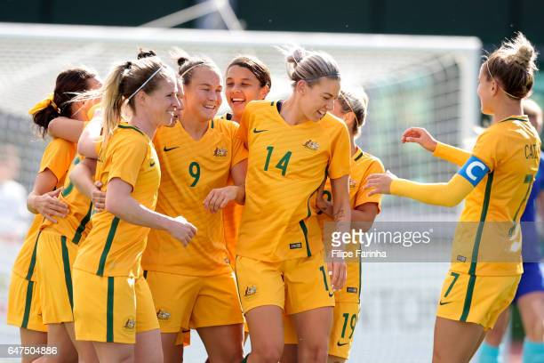 Players of Australia celebrate a goal during the Algarve Cup Tournament Match between Australia W and Netherlands W on March 3 2017 in Vila Real de...