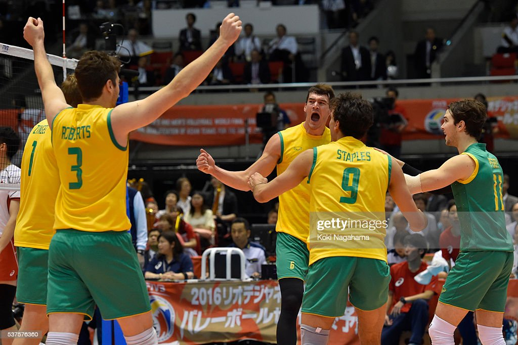 Players of Australia celebrate a point during the Men's World Olympic Qualification game between Australia and Japan at Tokyo Metropolitan Gymnasium on June 2, 2016 in Tokyo, Japan.