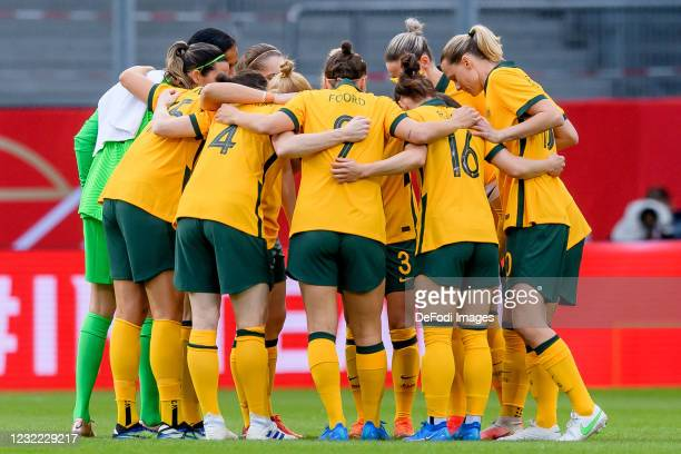 Players of Australia form a circle during the Women's International Friendly match between Germany and Australia at BRITA-Arena on April 10, 2021 in...