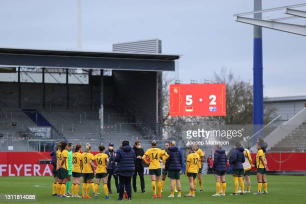 Players of Australia huddle on the pitch following the Women's International Friendly match between Germany and Australia at BRITA-Arena on April 10,...