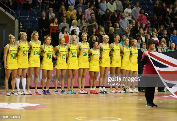 Players of Australia line up for the anthems ahead of the Vitality Netball International Series match between South Africa and Australian Diamonds as...