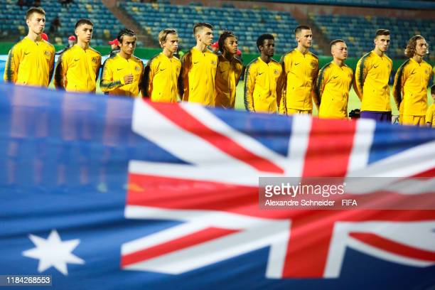 Players of Australia line up for the national anthem before the match against Hungary for the FIFA U17 World Cup Brazil 2019 on October 29 2019 in...
